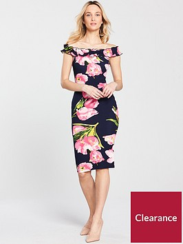 ax-paris-ruffle-frill-printed-bodycon-dress-navynbsp