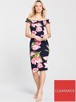 ax-paris-ruffle-frill-printed-bodycon-dress-navynbsp