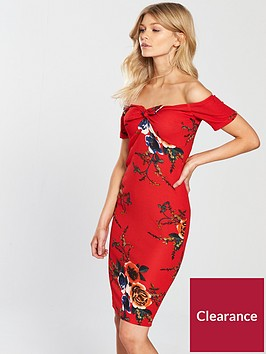 ax-paris-petite-off-the-shoulder-34-sleeve-printed-dress