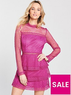 ax-paris-crochet-lacenbspthree-tier-skater-dress-cerise