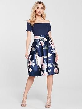 ax-paris-2-in-1-midi-dress-navy-printed