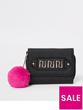 river-island-girls-black-pom-pom-trifold-purse