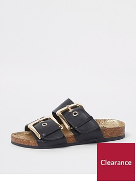 river-island-girls-black-and-gold-double-buckle-sandals