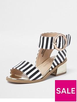 river-island-girls-black-stripe-flared-heel-sandal