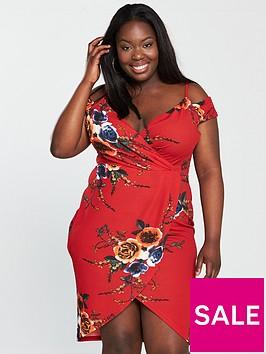 ax-paris-curve-floral-wrap-front-cold-shoulder-dress-red