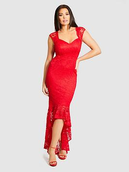 Jessica Wright Lace Fishtail Maxi Dress - Red