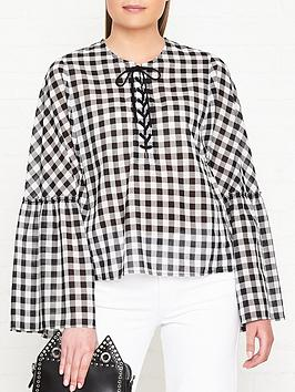 mcq-alexander-mcqueen-laced-gathered-sleeve-gingham-top-blackwhite
