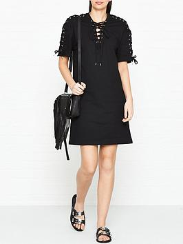 mcq-alexander-mcqueen-lacing-detail-short-sleeve-dress-black