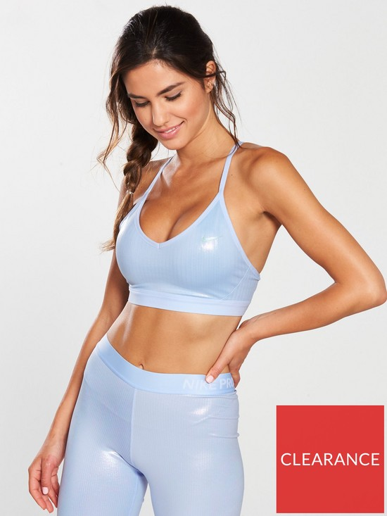e3f0d4b43c Nike Training Indy Party Shimmer Bra - Blue