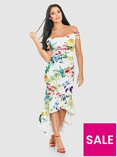 jessica-wright-bardot-floral-scuba-fluted-hem-midi-dress
