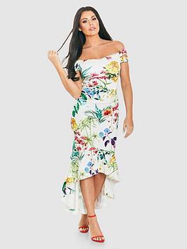 Jessica Wright Bardot Floral Scuba Fluted Hem Midi Dress