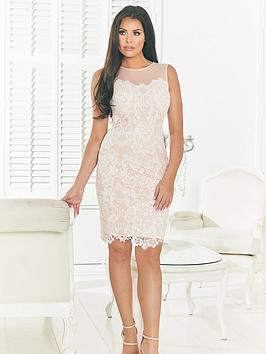 Jessica Wright Mesh Top Lace Detail Bodycon Dress