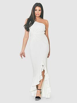 Jessica Wright One Shoulder Thigh Split Frill Maxi Dress - White