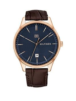 Tommy Hilfiger Tommy Hilfiger Navy Dial, Brown Leather Strap Mens Watch thumbnail