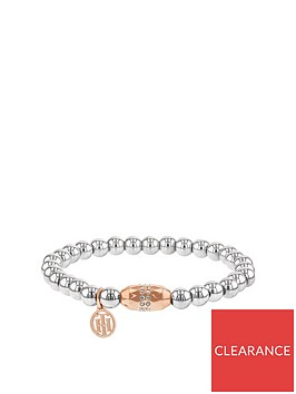 tommy-hilfiger-stainless-steel-and-rose-gold-ip-stretch-beaded-ladies-bracelet