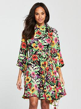 V By Very Unique Mixed Print Cutout Back Dress