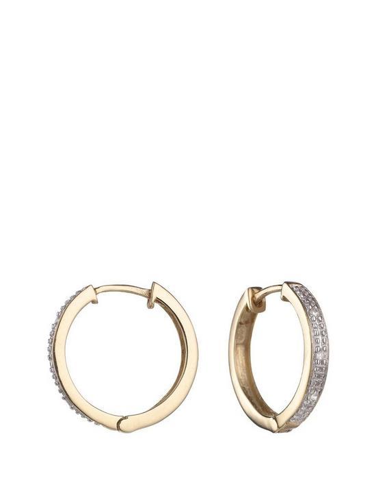 49f2b736a Love DIAMOND 9 Carat Yellow Gold Diamond Set Huggie Hoop Earrings ...