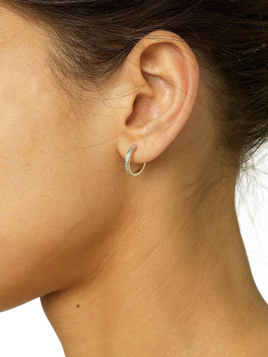 589bda53c ... Love DIAMOND 9 Carat Yellow Gold Diamond Set Huggie Hoop Earrings. View  larger