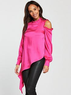v-by-very-unique-asymmetric-frill-top-bright-pink