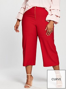 v-by-very-curve-ring-pull-cropped-wide-leg-trouser-red