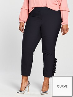 v-by-very-curve-tapered-ruffle-amp-pearl-hem-trouser-navy
