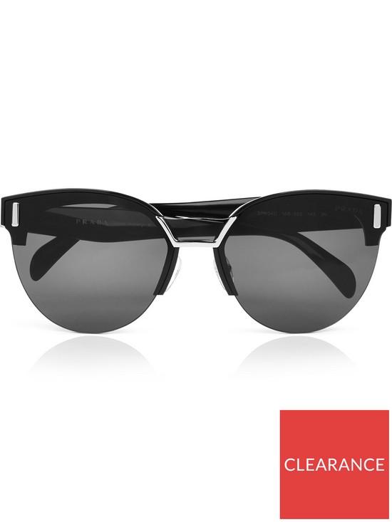 998244849373 PRADA Round Frame Acetate Sunglasses - Black | very.co.uk