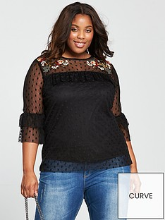 v-by-very-curve-embroidered-spot-mesh-top-black