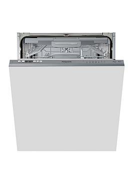 Hotpoint Hic3C26Wf 14-Place Full Size Integrated Dishwasher With Quick Wash, 3D Zone Wash And Optional Installation - Silver - Dishwasher With Installation