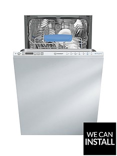 Indesit DISR57M96ZUK 10-Place Slimline Integrated Dishwasher with Optional Installation - White