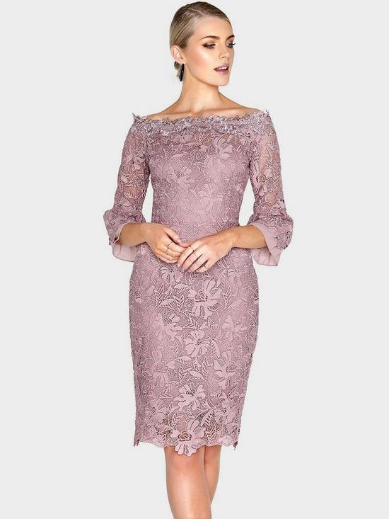 Free Shipping Shop Clearance Big Sale Paper Dolls Women's Crochet Lace Chiffon Flute Sleeve Bardot Dress Buy Cheap For Nice x8JCx2dvjm