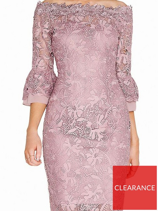 f425171326e7 Paper Dolls Crochet Lace Chiffon Flute Sleeve Bardot Dress - Mink ...