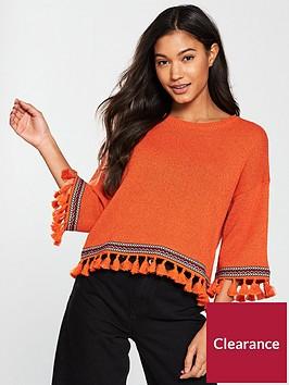 river-island-tassel-hem-jumper--orange