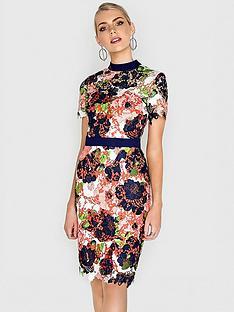 paper-dolls-bloom-printed-crochet-lace-high-neck-dress