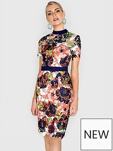 paper-dolls-bloom-printed-crochet-lace-high-neck-dress