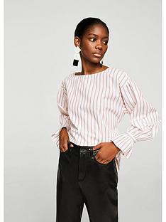 mango-lichinbspstriped-fluted-sleeve-blouse-pinknbsp