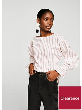 mango-lichinbspstriped-fluted-sleeve-blouse-pinknbsp