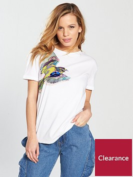 lost-ink-petite-bird-print-embellished-t-shirt-white