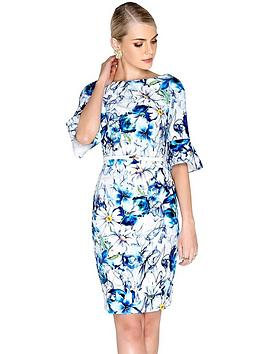 paper-dolls-daisy-spray-printed-flute-sleeve-dress