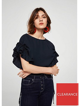 mango-cintasnbspruffle-blouse-blueblack