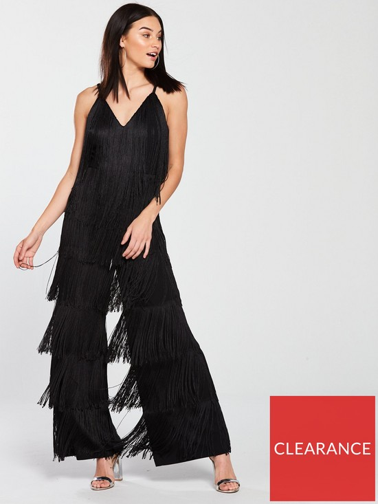 23c9d027f6fc V by Very Unique Fringe Jumpsuit - Black