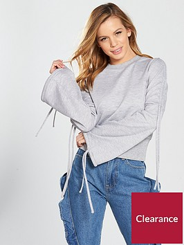 lost-ink-petite-drawcord-sleeve-sweat-light-grey