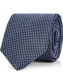 hugo-mens-silk-two-tone-textured-tie-blue