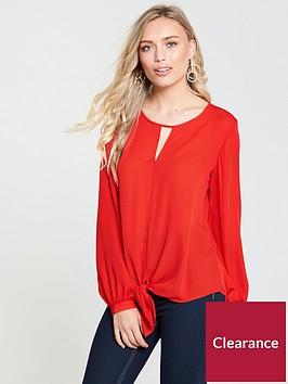 wallis-tie-front-top-red