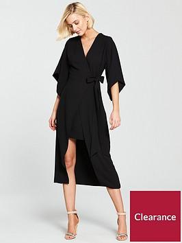 river-island-tie-waist-v-neck-midi-dress--black