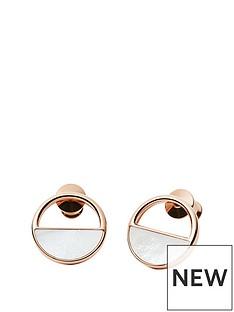 skagen-skagen-ladies-rose-gold-steel-mother-of-pearl-stud-earrings