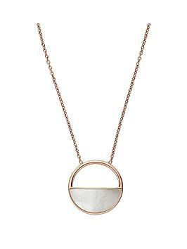 skagen-skagen-ladies-rose-gold-tone-mother-of-pearl-pendant-necklace