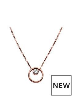 skagen-skagen-ladies-rose-gold-tone-crystal-circle-necklace