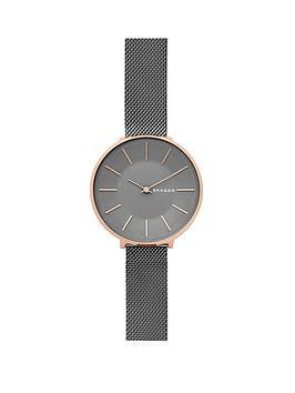 skagen-karolina-gunmetal-mesh-bracelet-rose-gold-case-ladies-watch