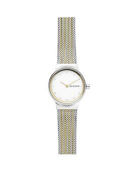 skagen-skagen-ladies-watch-two-tone-gold-ip-and-stainless-steel-mesh-bracelet-with-white-dial