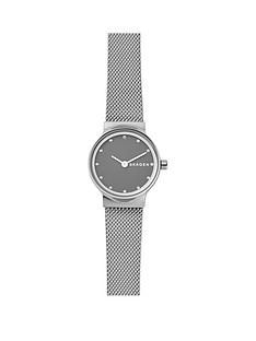 skagen-skagen-ladies-watch-stainless-steel-mesh-bracelet-gray-sandblast-dial-with-clear-crystals-accents